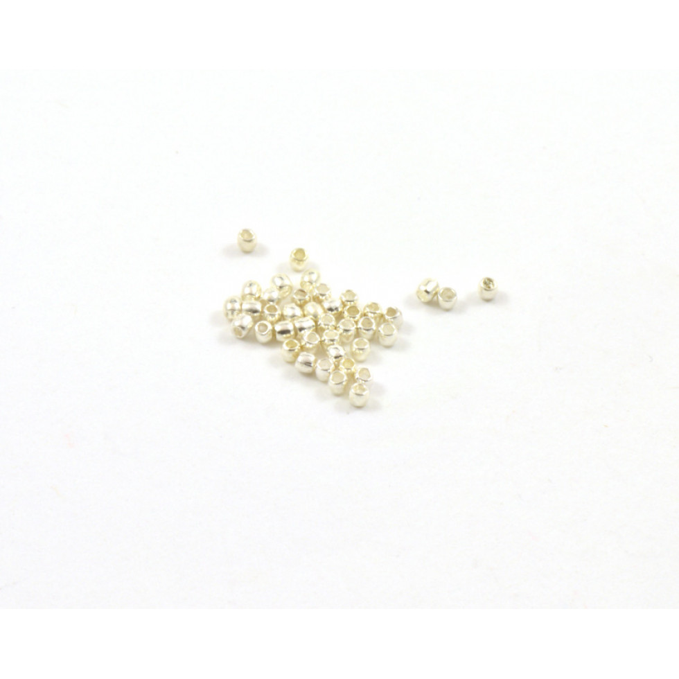 1MM SILVER PLATED CRIMP BEADS- PERLES ET