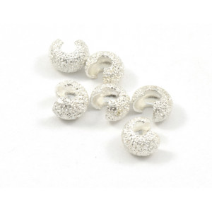 4MM SILVER PLATED STARDUST CRIMP BEADS COVER (PACK OF 10)