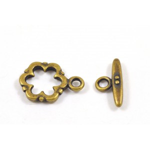 Toggle fleur 15mm laiton antique*