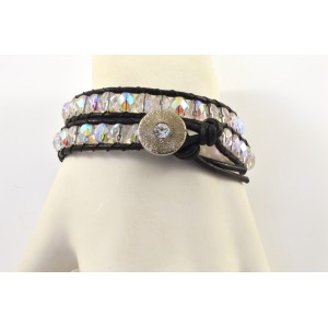 2 rows leather and glass beads bracelet black and multi color