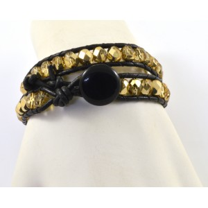 2 rows leather and glass beads bracelet black and gold