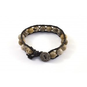 Black leather and semi precious 10mm fossil beads