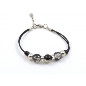 Black color leather and crackle glass beads bracelet