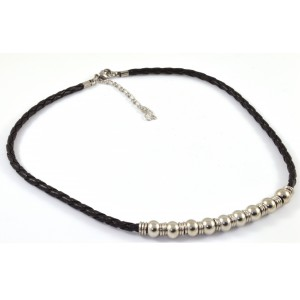 Braided leather necklace with stainless steel