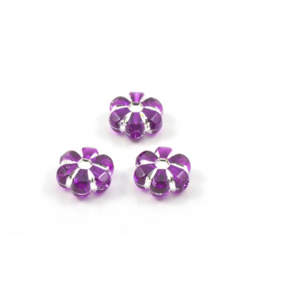 Purple and silver acrylic flower beads