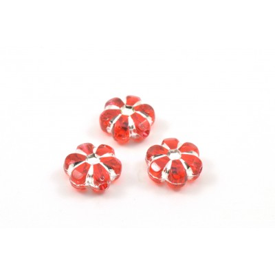 Red and silver acrylic flower beads