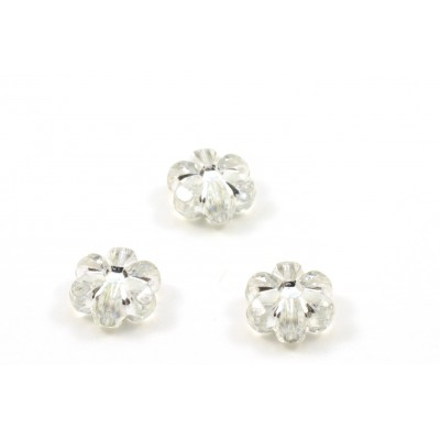 Transparent and silver acrylic flower beads