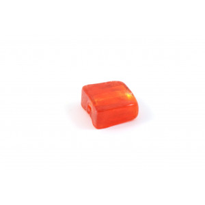 VERRE CARRÉ PLAT ORANGE-ROUGE''FOIL'' OR DE 12MM