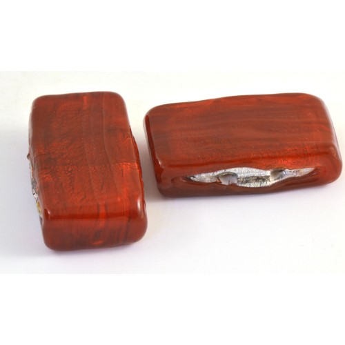 BILLE DE VERRE RECTANGLE 2 TROUS 34MM ROUGE*
