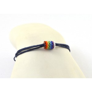 Waxed  coton cord bracelet with mini hand made multi- color bead