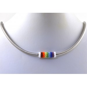 Stainless steel snake chain necklace with hand made multi- color bead