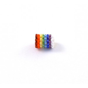 Hand made multi- color 9x6mm bead