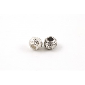 BILLE 9X7MM COULEUR RHODIUM*
