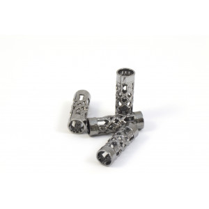 BILLES DE MÉTAL TUBE FILIGREE 12X4MM NICKEL NOIR