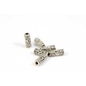 Bille tube 8mm argent antique