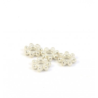METAL BEAD FLOWER 6X2MM SILVER PLATED