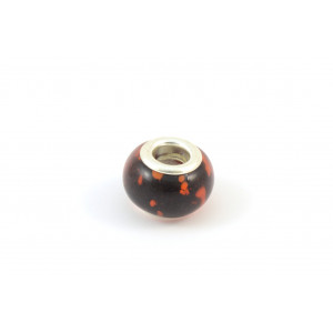 BILLES DE VERRE STYLE PANDORA NOIR POINT ROUGE