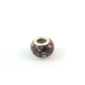 BILLES DE VERRE STYLE PANDORA NOIR POINT ROSE