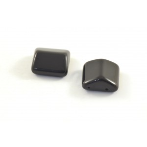 2 HOLES SQUARE OPAQUE BLACK BEAD 15MM