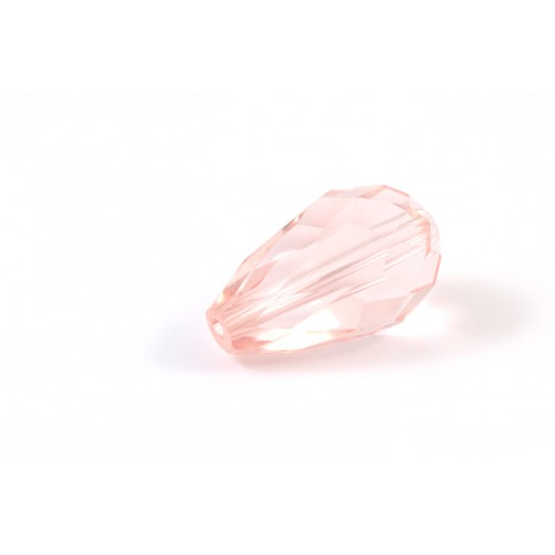 GOUTTES DE VERRE TRANSPARENT ROSE 15X10MM*
