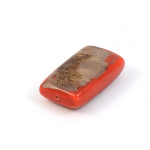 BILLE DE BOIS RECTANGLE PLAT 40X28MM ROUGE ET BEIGE