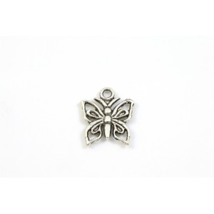 BRELOQUE ARGENT ANTIQUE PAPILLON 15X12MM