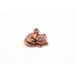 BRELOQUE CHAT CUIVRE ANTIQUE 18X12MM