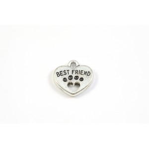 BRELOQUE ARGENT ANTIQUE COEUR BEST FRIEND 15MM