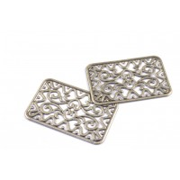 Filigree rectangle plate 49x32mm matte antique silver