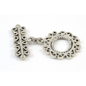 TOGGLE OVAL ARGENT ANTIQUE