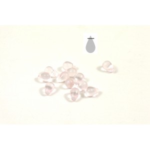 Goutte de verre 4x6mm rose transparent (paquet de 25)