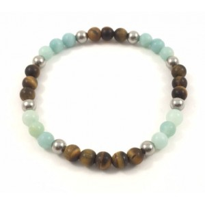 Amazonite and tiger eye  bracelet
