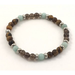 Amazonite, tiger eye and smoky quartz bracelet