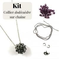 Kit pour fabrication d'un collier chaîne acier inoxydable et dodécaèdre