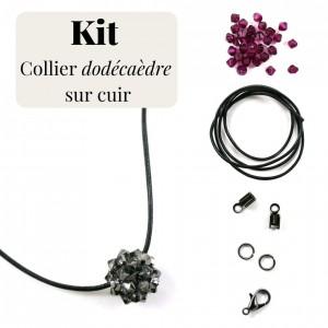 Kit pour fabrication d'un collier cuir et dodécaèdre