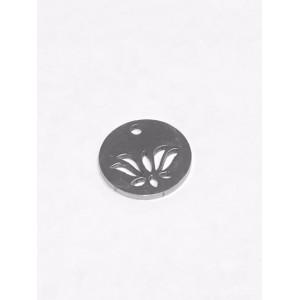 Breloque ronde avec Lotus acier inoxydable 12mm