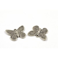 Breloque argent antique papillon 18x14mm