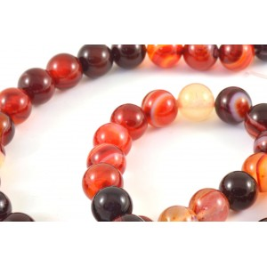 PIERRE RONDE 8MM AGATE ROUGE