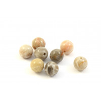 BILLES  RONDE 6MM CORAIL FOSSIL NATUREL BRUN BEIGE