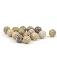 BILLES  RONDE 10MM CORAIL FOSSIL NATUREL BRUN BEIGE