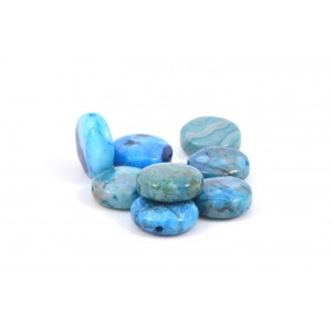 BILLE RONDE PLATE 12MM BLUE CRAZY LACE AGATE