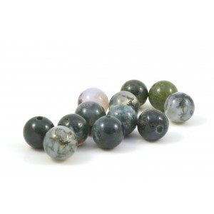 BILLE RONDE 8MM MOSS AGATE