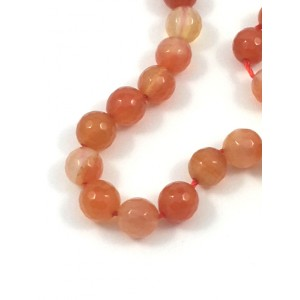 PIERRE RONDE 8MM AGATE ORANGE FACETTÉ