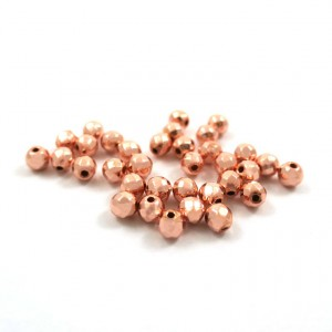 Bille ronde facettée 4mm hematite rose gold