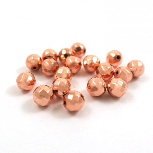 Bille ronde facettée 6mm hematite rose gold