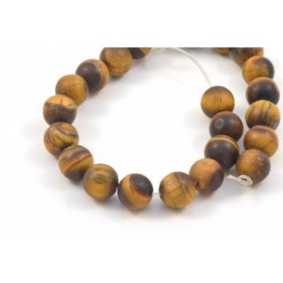 ROUND BEAD 8MM FROSTED TIGER EYE