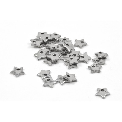 STAINLESS STEEL STAR CHARM 7MM (10 PER PACK)