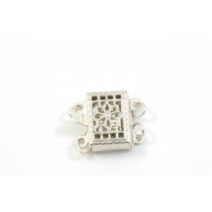 FERMOIR 2 RANGS FILLIGREE 10X8MM ARGENT STERLING