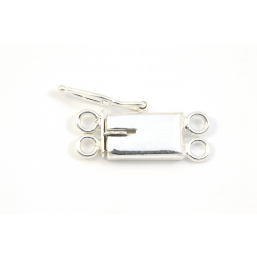 2 ROWS SMOOTH TAB CLASP 10X6MM STERLING SILVER