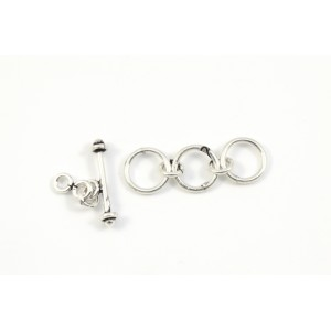 3 LOOPS TOGGLE CLASP 8MM STERLING SILVER